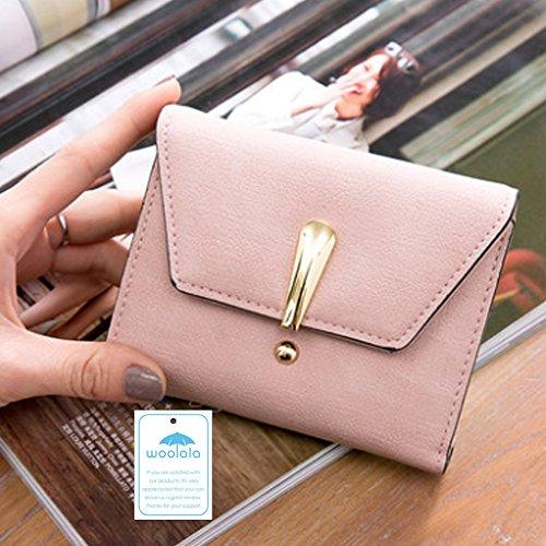 Woolala Nubuck Portafoglio Per Le Donne Trifold Cash Credit Cards Holder Organizzatore Dimensioni Tasca Borsa Piccola, Grigio Pink