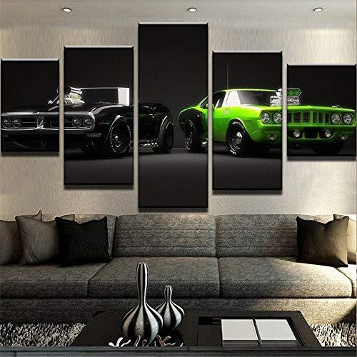 GLORIOUS.YY Wandbilder Wohnzimmer 5 Teilig Kühles Grünes Und Schwarzes Auto Wohnzimmer Cafe Restaurant Wand Dekoration
