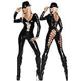 Frau Sexy Leder Unterwäsche Kostüm Katzenfrau Latex Catsuit PVC Body Overall Siamese Kleid Clubkleidung , black , one size