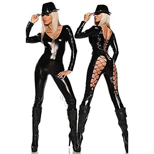 NEIYI Frau Sexy Leder Unterwäsche Kostüm Katzenfrau Latex Catsuit PVC Body Overall Siamese Kleid Clubkleidung, one Size