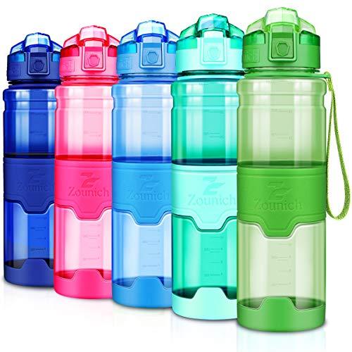 ZOUNICH Trinkflasche Sport BPA frei Kunststoff Sporttrinkflaschen für Kinder Schule, Joggen, Fahrrad, öffnen mit Einer Hand Trinkflaschen Filter, Grün-klar, 32oz/1000ml