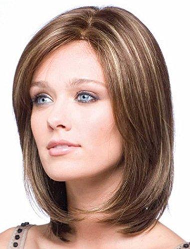 Falamka élégante mixtes Couleur Marron Taille Longueur Cheveux raides naturels courte femmes Bob Perruque