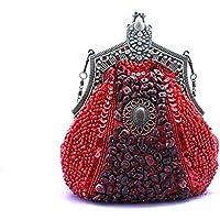 borsa nuova frizione a forma di cuore borsa banchetto borsetta borsa mini perline borsa sposa in rilievo handmade ( colore : Rosso )