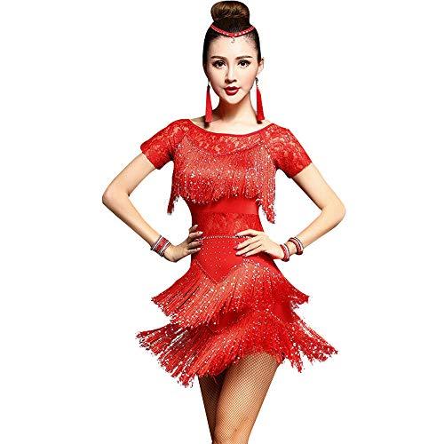 LONMEI Latin Dance Kostüme für Damen - Kurzärmliges Kleid mit Quasten Fransen, Rot/4XL (Rote Fransen Dance Kostüm)