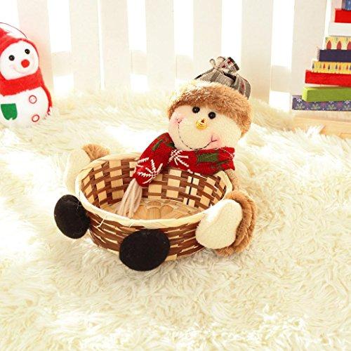 Panier de Bonbons de Noël, Internet Stockage Aux Bonbons de Festival - Cadeau de Panier en Bambou de Stockage du Père Noël (A)