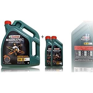 Castrol Magnatec Lot de 3 bidons d'huile moteur 5W-30C2avec étiquette de changement d'huile Castrol incluse Spécifications/autorisations ACEA C2Approbation PSAB712290Conforme Fiat 9.55535-S1 2 x 1 l + 5 l pas cher