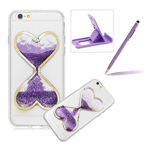 iPhone 7 Plus Flüssigkeit Hülle,iPhone 7 Plus Glitzer Liebe Herz Case,Herzzer Luxus Lustige Kreative 3D Sanduhr Flüssigkeit Treibsand Glitzern Sand Bewegen Weich Kristall Handyhülle Schutzhülle für iP Sanduhr,Lila