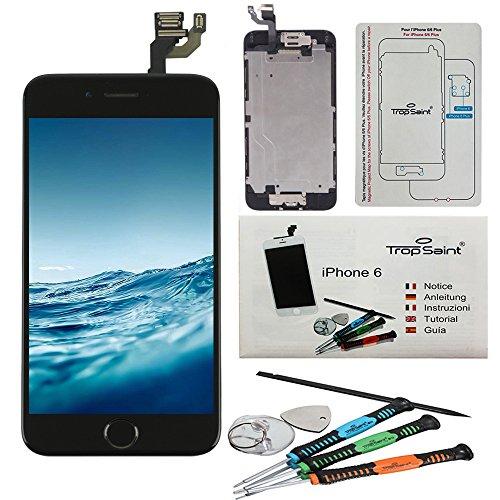 """Trop Saint® Vetro Schermo di ricambio per iPhone 6 (4,7)"""" Nero Retina Completo, LCD Display - Tasto Home, Fotocamera e Sensore Di Prossimita - con gli strumenti - alta qualità"""
