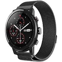 Xiaomi Huami Amazfit Stratos 2/2S Correas, Zolimx Magnética de Acero Inoxidable Reloj Inteligente Banda Sport Pulsera de Huami Amazfit Smartwatch 2 (Negro)