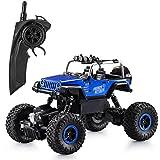 Ferngesteuertes Auto,1:18 Elektronisch RC Rock Crawler Auto 2.4Ghz 4WD Ferngesteuertes Truck hohe Geschwindigkeit RC Geländewagen mit wiederaufladbare Batterien Buggy Truggy Rennwagen Monster (Jeep Blau)