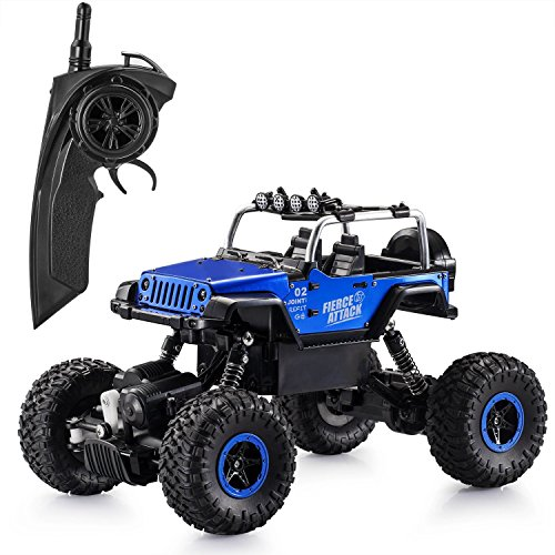 Ferngesteuertes Auto,1:18 Elektronisch RC Rock Crawler Auto 2.4Ghz 4WD Ferngesteuertes Truck hohe Geschwindigkeit RC Geländewagen mit wiederaufladbare Batterien Buggy Truggy Rennwagen Monster (Jeep Blau) (Motor 1 Geschwindigkeit)