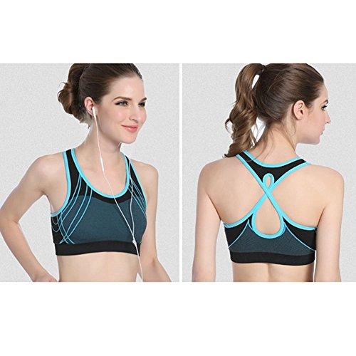 Demarkt Femme Brassière Soutien-gorge Collant Sport Athletic Fitness Yoga Jogging blue