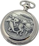A E Williams 4940 Horse Racing mens quartz pocket watch with chain