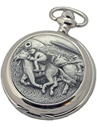 A E Williams 4940SK Horse Racing mens mechanical pocket watch with chain