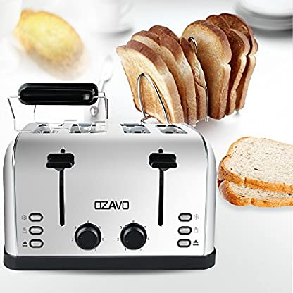 OZAVO-Toaster-4-Scheiben-Brtchenaufsatz-7-Brunungsstufen-Zentrierfunktion-mit-Abnehmbarer-Krmelschublade-Edelstahlgehuse-1500W