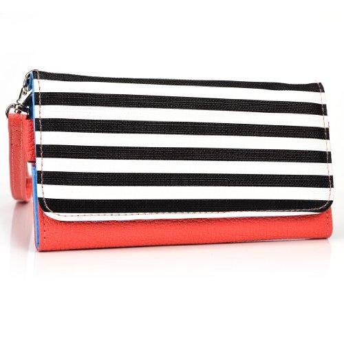 Kroo esamwlb1Epi-Slim Clutch Wallet Schutzhülle aus Leder für Smartphone, Coral with Black and White Stripes, Up to 5 Inch - Gucci Coral