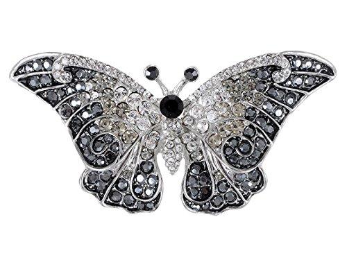 Alilang Frauen Empress Monarch Bling Glänzend Elegant österreichischen Kristall Strass Winged Flügel Schmetterlings Brosche (Alilang Kristall Brosche)