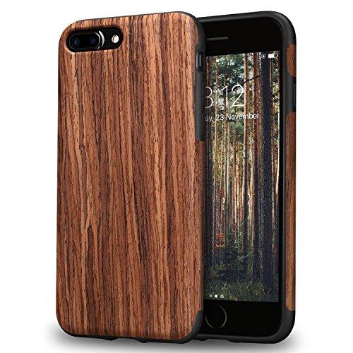 TENDLIN iPhone 7 Plus Hülle/iPhone 8 Plus Hülle mit Holz & Flexiblem TPU Silikon Weiche Schutzhülle für iPhone 7 Plus & iPhone 8 Plus (Rotes Sandelholz)