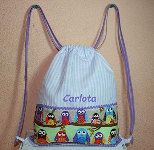 Imagen de primeraedad/bolsa  guarderia de tela con buhos personalizada 30 x 35 cm / color morado blanco .