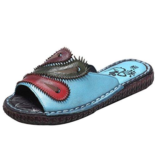 Vogstyle Damen Strand Pantoffeln Leder Ethnischen Stil Flach Peep-Toe Sandalen Art 1 Blau