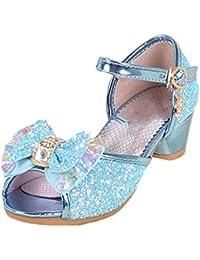 13bb56fae6d Yy.f YYF Fille Sandale Princesse Chaussures a Talon Reine de Neige Belle  avec Pailliettes