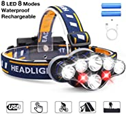 Headlamp, DELEE 13000 Lumen Brightest 8 LED Headlight Flashlight with White Red Lights, USB Rechargeable Water