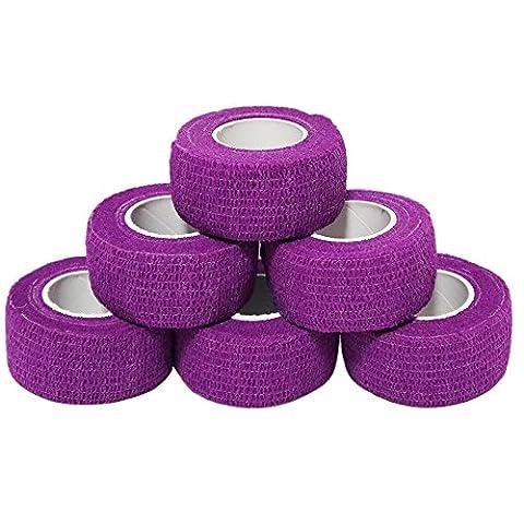 YuMai 2.5cm x 4.5m(Violet) First Aid Kit Finger Tape /Adhesive Bandages /Vet Wrap, Elastic, Flexible, Self-Adhesive - 6