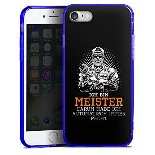 Apple iPhone 8 Silikon Hülle Case Schutzhülle Meister Spruch Handwerk Silikon Colour Case blau