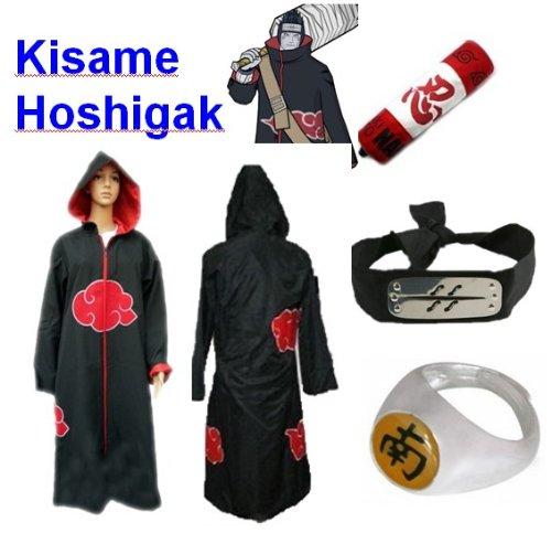 Naruto Akatsuki Hoshigaki Kisame Cosplay Kostüm Set (Akatsuki Cloak/Hat,Größe:XL: Höhe 177cm-184cm + Hoshigaki Kisame Stirnband + Hoshigaki Kisame Ring + Naruto (Akatsuki Kisame Kostüm)