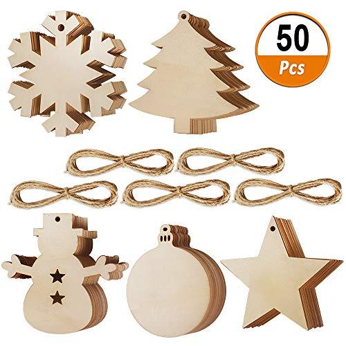 Heqishun 50 pezzi di etichette in legno di natale, ornamenti natalizi non finiti naturali ornamenti in legno fai-da-te appesi appesi in legno usati per decorare natale e feste