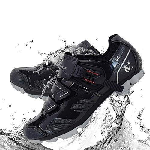 VeloChampion Elite SPD MTB Cycling Shoes for Men Women Ideal for Mountain, Cyclo Cross Country XC Bikes in Black/Silver + Socks Included (Size 45)