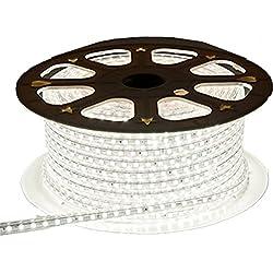 Viktion - 220V 10m SMD 5050 LED Ruban Bande Strip étanche flexible sécable 600 LEDs éclairage - utiliser directement pas besoin de l'adapteur, plus pratique (Blanc froid)