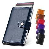 LunGear Leder Kartenetui RFID Schutz mit Geldfach,Ultraleicht Metall Kreditkartenetui und Mini kartenhalter, Premium Geldbeutel Geschenk für Herren und Damen (Blau)