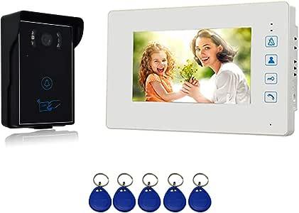 1 X Moniteur LCD 4,3 Pouces, 1 X Cam/éra Infrarouge Ext/érieure Imperm/éable avec Vision Nocturne Syst/ème de Visiophone Nudito Kit Sonnette de Porte Visuelle Filaire pour la Maison