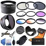 K&F Concept 52mm Objetivo Digital de Alta Definición Azul Film Coated 2.2X Lente Telepfoto + 0.45X Lente con Gran Angular + Slim MCUV + Slim CPL + FLD + ND4 + De Cerca+4+10 Filtro + Graduado Filtro Naranja Azul Gris + Centro Pellizco Tapa de Objetivo + Parasol para Canon Rebel T5i T3i XTi XS T4i T2i XT SL1 T3 T1i XSi EOS 1000D 600D 450D 100D 650D 700D 550D 400D 500D 300D 1100D and Nikon D7100 D5100 D3100 D300 D90 D70s D40x D3X D7000 D5000 D3000 D300S D80 D60 D3 D5200 D3200 D700 D200 D70 D40 D3S