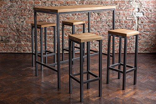 Original BestLoft® Stehtisch Bartisch Tresen Bar IndustrieDesign Loft (ein Set: 120er Tisch+4 Hocker, Eiche natur)