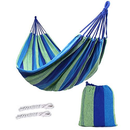 ValueHall extérieur Doux en Coton Tissu hamac brésilien Double Largeur 2 Personne Voyage Camping hamac (Bleu)