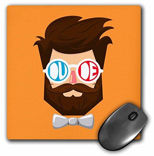 3dRose mp_280189_1 Mauspad mit Bart und Schnurrbart, mit Brille und Fliege, 20,3 cm, mehrfarbig