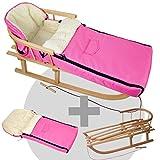 BambiniWelt24 BAMBINIWELT Kombi-Angebot Holz-Schlitten mit Rückenlehne & Zugseil + universaler Winterfußsack (90cm), geeignet für Babyschale, Kinderwagen, Buggy, Wolle Uni (Pink)