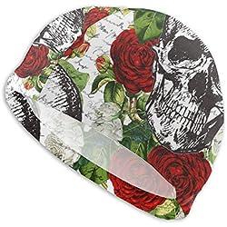 Fun Life Art Gorro de natación de calaveras y rosas