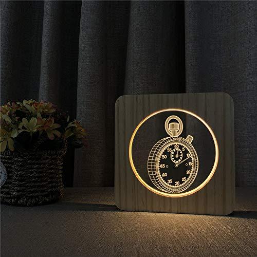 Taschenuhr Acryl Holz Nachtlichter Tischlicht Schalter Steuerung Gravur Lichter Kinderzimmer