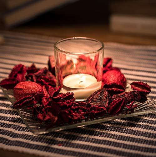 Kerzenhalter Deko Set Romantische Kerzenbeleuchtung: Rustikales Set - Palmwachs-Kerze und Glashalter & dekoratives Potpourri auf Glasschale - Palmwachs-Blockkerzen für alle Feiern, Weihnachten (Kleine Glasschalen Weiße)