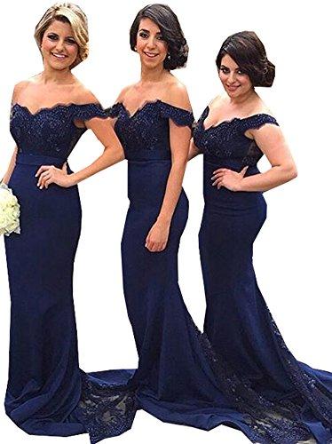 Special Bridal Off-the-Schulter Brautjungfer Kleid Meerjungfrau Abendkleid Spitze Prom Kleid Style11 Navy Blue US8