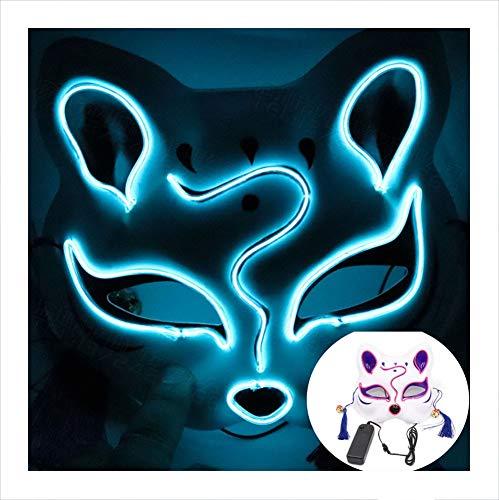 Dance Kostüm Ice - Unbekannt LED Halloween Masken, Creepy Scary Purge Maske, EL Wire Kostüm Latex Horror Horrormaske Dekoration Cosplay Prop für Fasching Karneval Party Batterie Angetrieben Ice Blue