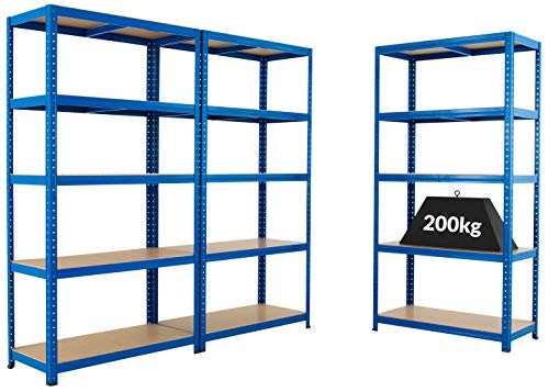 Mega Deal | Set aus 3x Schwerlastregal (Tiefe 60 cm) | Fachlast 200 kg pro Fachboden | Metallregal...