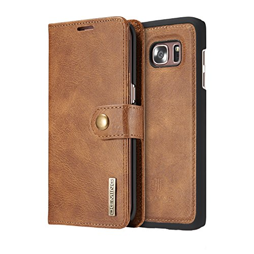 COCK-Vintage-Genuine-Leather-Wallet-Case-Flip-cover-Magnetic-Detachable-Leather-Back-Cover-with-Card-Holder-for-Samsung-Galaxy-S7-edge-Tan-brown