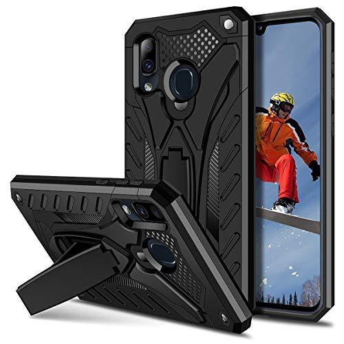 Coolden Samsung Galaxy A40 Hülle,Rugged Outdoor Stoßfest Schutzhülle mit Ständer Dual Layer Hard PC + TPU Bumper Handyhülle für Samsung Galaxy A40 (Schwarz) -