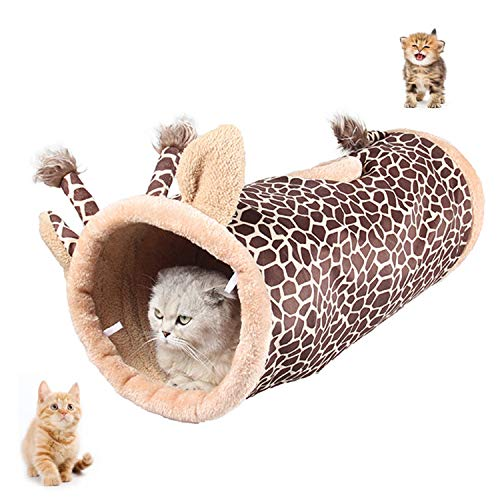 UniM Pet Interactive Play Katzentunnel Multifunktions Warm Snug Teppich-Mat-Bett mit Crinkle Sound, zusammenklappbares Katzenspielzeug, ideal für Welpen Kaninchen Meerschweinchen, Giraffen Form -