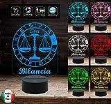 SEGNO ZODIACALE BILANCIA Lampada a led 7 colori selezionabili Idea regalo personalizzata da tavolo o scrivania ASTROLOGIA Luce da notte Cambia colore con Touch Switch