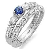 Damen Ring / Ehering 18 Karat Weißgold Rund Blau Saphir Diamant 3 Stein Damen Verlobungsring Ehering Set